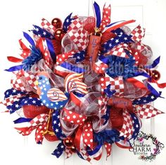 Deco Mesh Summer Patriotic Wreath July 4th Rooster Fireworks Door Wreath by www.southerncharmwreaths.com $143 #decomesh #wreath #rooster