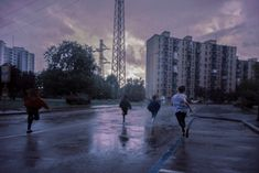 """coltre: """"I was walking around with my friends one very sunny day but all of sudden it started raining really hard so here's a picture of us running as fast…"""