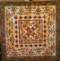 "Simplified Common Bride pattern by  E. Sitar.   2015 raffle quilt for ECQG of Atlanta.   92"" square.   LS"
