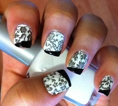 Classic Black and White Manicure