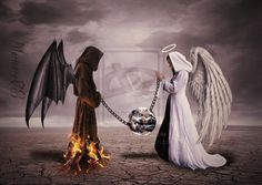 AJ Fortuna: The Relationship Between Good and Evil Evil Angel, Angel And Devil, Ange Demon, Demon Art, Vs Angels, Angels And Demons, Fallen Angels, Angel Y Diablo, School For Good And Evil