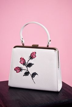 Zenia Embroidered Vintage Style Handbag in Cream - Heart of Haute
