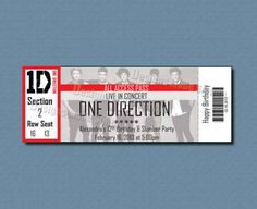 A custom One Direction concert gift certificate.