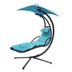 F2C Chaise Lounger Hanging Chair Arc Stand Air Porch Swing Hammock Chair Canopy Umbrella Stand Support Included (Teal)