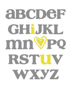 ABC Alphabet (I love you) Art in Gray/Grey and Yellow. You can purchase a printable file or poster print of this original design in my Etsy shop. THIS IS NOT A FREE PRINTABLE. Thank you.