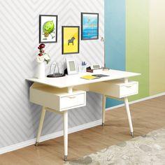 Meja Lapland desain mid century dengan kaki hiasan metal warna perunggu, handle kayu, daun meja mengambang. Cocok sebagai meja belajar atau meja kerja.