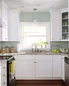 blue walled kitchen