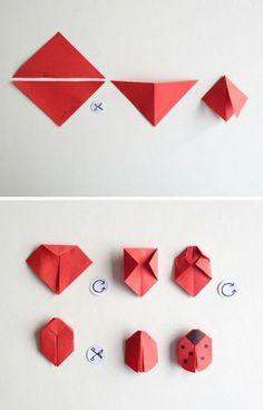 schaeresteipapier: Good luck with beetle and shamrock - Basteln - Origami Dragon Origami, Origami Yoda, Origami Star Box, Origami Fish, Origami Butterfly, Origami Stars, Origami Flowers, Origami Ladybug, Origami Gifts