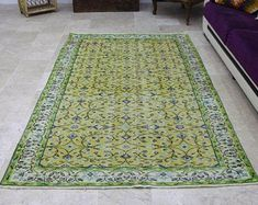 turkish rug oushak rug vintage rug turkey by turkishrugempire Yellow Rug, Vintage Rugs, Turkey, Turkey Country