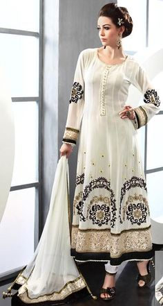 $214.96 White Embroidered with Stone Work Long Anarkali Salwar Suit 22926
