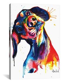 Shaunna Russell Weekday Best Dachshund Watercolor Wrapped Canvas | zulily