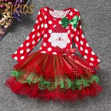 Girls Christmas Santa Dresses for Party Long Sleeve Dots Layered Dress Girl Children Clothing Xmas Eve Kids Clothes Autumn 2016(China (Mainland))