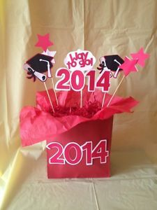 Graduation Party Centerpiece Sticks Cake Picks Decoration Red & White 2014