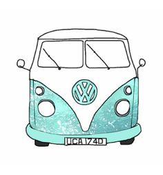 hippie van tumblr | Hippie Van Drawing Drawing picture blue sketch