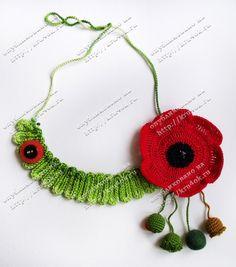"A set of ""Mac"" Form Crochet, Crochet Toys, Knit Crochet, Crochet Poppy, Crochet Flowers, Knitted Necklace, Crochet Earrings, Knitted Poppies, Poppy Brooches"