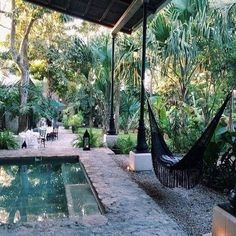 backyard garden patio dream home plunge pool brick tile Outdoor Spaces, Outdoor Living, Outdoor Decor, Gazebos, Bohemian House, Pool Designs, My Dream Home, The Great Outdoors, Exterior Design