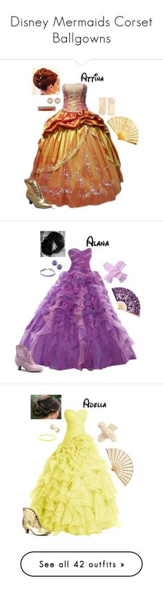 """""""Disney Mermaids Corset Ballgowns"""" by briony-jae ❤ liked on Polyvore featuring Funtasma, Chanel, ASOS, vintage, Roberto Coin, Vanessa Mooney, Assael, Forever 21, Ippolita and FairOnly"""