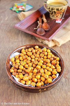 Spicy Oven roasted Chickpeas - a low calorie recipe