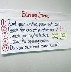 Editing anchor chart for writing workshop with step by step directions for students to editing before publishing. I love the tip of reading the piece out loud! Narrative Writing, Editing Writing, Writing Lessons, Teaching Writing, Writing Skills, Writing Ideas, Memoir Writing, Writing Strategies, Informational Writing