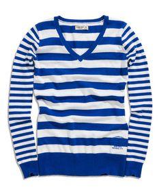 Love this Blue Stripe V-Neck Sweater on #zulily! #zulilyfinds