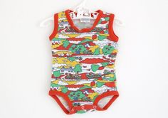 Vintage Mothercare sleeveless babygro in bright landscape pattern, 1970s, approx age 3-6 months