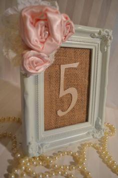 Satin Burlap Cardstock Pearl Lace Pink Frame Wedding Table Number