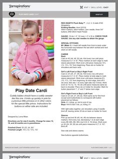 Free Baby Sweater Knitting Patterns, Baby Knitting Patterns, Free Knitting, Baby Patterns, Crochet Patterns, Knitting Yarn, Knitting Dolls Clothes, Baby Girl Quilts, Crochet Baby