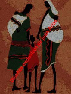 Familia africana de espalda bordado en punto cruz