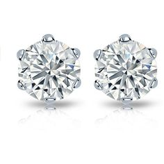 14k Gold 2ct TDW Round-cut Diamond Certified 6-prong Stud Earrings (78,530 MXN) ❤ liked on Polyvore featuring jewelry, earrings, accessories, white, round stud earrings, screw back earrings, 14 karat gold earrings, 14k gold earrings and diamond earrings