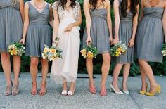 Grey, Mustard and Peach Wedding Colors