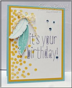 Connie's fun card: Four Feathers & its framelits, Dotty Angles, & Big News. All supplies from Stampin' Up!