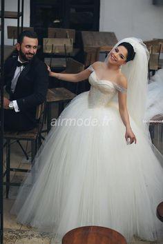 fournitures de airmode.frma robe longue vintage de la robe de mariée ivoire à tulle Robes de Mariée A-ligne (2)