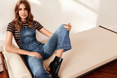 Model wears Denim Bib Overalls, Ribbed Top and Ankle Boots with Wooden Heels for spring 2016 lookbook photoshoot
