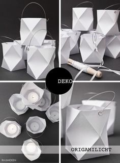 Origami Windlicht falten und kleben! Die Vorlage und Bastelanleitung findest du im MINIMALmagazin!