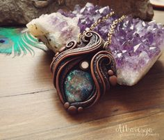 Necklace with Chrysocolla by Atharesya on Etsy