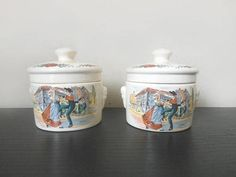 French vintage Ceramic Jars french factory of Sarreguemines