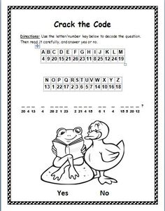 Fun freebie for early finishers! In this cryptogram activity, children will use a letter/number key to decode an encrypted question with cvc, ccvc, and cvcc words. After decoding the question, they will read it for comprehension and circle Yes or No. The question asked in this cryptogram is: Can a frog read to a duck? Great way to engage children who finish early!
