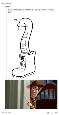 Pixar Drawing Snake i my boot! Disney And Dreamworks, Disney Pixar, Lol, Funny Cute, Hilarious, Funny Animals, Cute Animals, Cute Snake, Reptiles