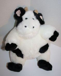 "Unipak Cow white black spots fat round plush stuffed animal 13"" Boys & Girls 3+  #Unipak"