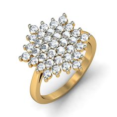 http://www.bluestone.com/rings/the-venus-ring~587.html  Designed especially for the woman who loves attention, this spectacular piece features a stunning arrangement of glittering stones which is sure to turn heads.