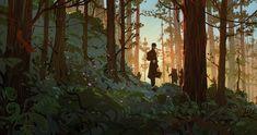 Pine forest, an art print by Gabriel Gomez - INPRNT Concept Art Landscape, Fantasy Landscape, Landscape Art, Japon Illustration, Forest Illustration, Fantasy Forest, Forest Art, Forest House, Environment Concept Art
