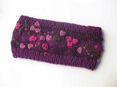 Knitted Headband, Knitted Ear Warmer, Knitted Head Wrap, Embroidered Headband, Embroidery Headbands by avivaschwarz on Etsy