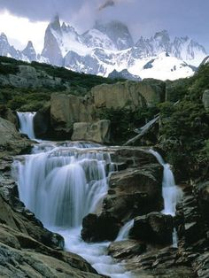 Andes Mountain Waterfall  Photograph by Peter Essick    The snowy peaks of the Andes spawn thousands of gushing streams and waterfalls in Patagonia.