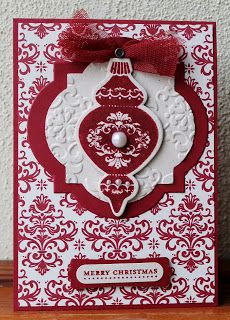 Stampin' Sarah!: A little bit of Autumn Winter Christmas Crafting ~Ornament Keepsakes handmade card
