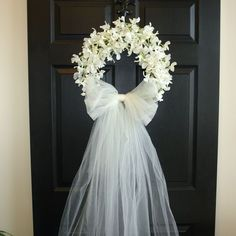 spring summer wreaths, weddings decor flowers year round wreaths wreath elegant wreath front door country french outdoor and garden white front door wreaths WHITE ORCHID WREATH This listing is for beautiful white/ivory fake orchids wreath. The perfect wreath, front door or wall decor, wedding door decorations. Also a great decor for Firs Communion, Wedding, Birthday, Shower... This wreath is made with silk artificial orchids and grapevine wreath, it is finish with large tulle bow and veil…
