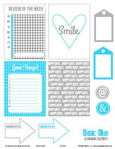 Basic Blue Journaling Cards   Free Printable Download from VintageGlamStudio  ~~  perfect for Project Life