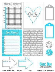 Basic Blue Journaling Cards   Free Printable Download
