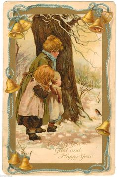 POSTCARD NEW YEAR GREETING HARRIET BENNETT CHILDREN WATCH BIRD NISTER in Collectibles, Postcards, Holidays | eBay