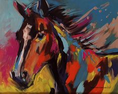 """My Name is Graffiti"" is a 16x20 acrylic pop art horse painting. I am inspired by bright, bold colors and graffiti art. I wanted to blend all these ideas with my love of horses and incorporate movement and attitude. Original $1750"