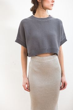 Redefining sweater set. Organic by John Patrick Wide Crop Pullover